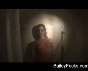 Lonely girl stays under the hot water in the shower and gets horny